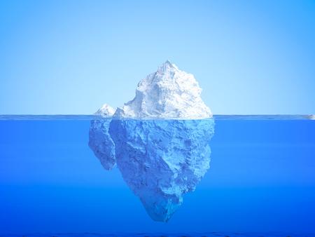 3d rendering iceberg floating on blue ocean 스톡 콘텐츠