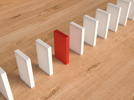 differentiation: 3d rendering red domino for leadership concept