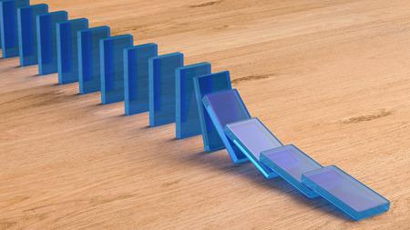 topple: 3d rendering blue dominoes falling Stock Photo