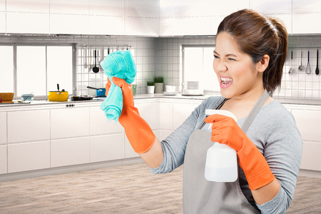 sweeper: asian housewife holding spray bottle and rag fighting with dirty