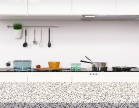 granite kitchen: 3d rendering empty granite counter in kitchen