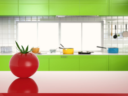cabinetry: 3d rendering tomato on counter with kitchen background