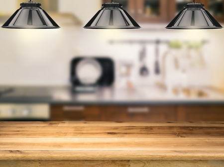 cabinetry: wooden counter with 3d rendering hanging lamps with kitchen background Stock Photo