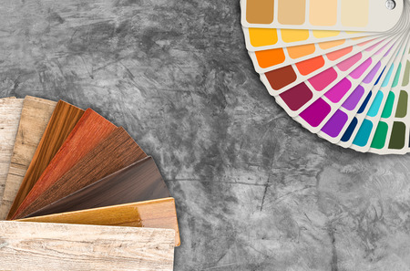 color swatch: color swatch samples and wood color guide Stock Photo