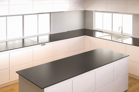 built: 3d rendering empty kitchen cabinet with kitchen counter