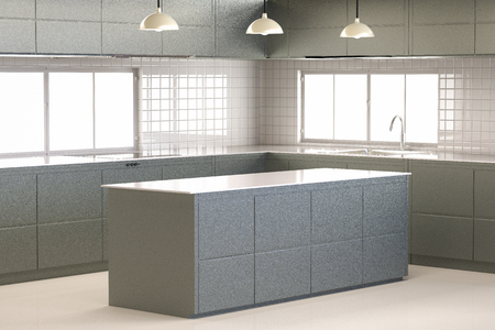 cabinetry: 3d rendering empty kitchen cabinet with kitchen counter