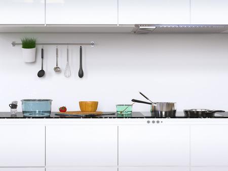 3d rendering kitchen cabinets with kitchen utensils
