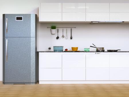 3d rendering interni cucina con armadi e frigorifero