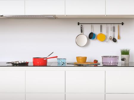3D-Rendering-Küchenschränke mit Küchenutensilien Standard-Bild