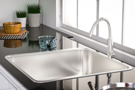 granite countertop: 3d rendering kitchen sink and faucet Stock Photo
