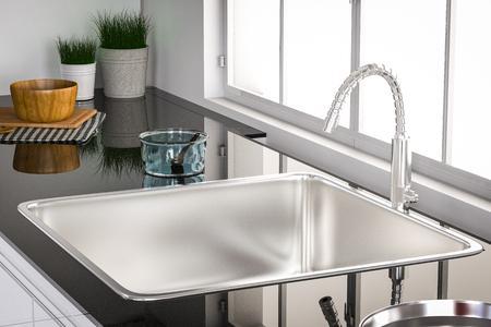 3D-Rendering-Küche Spüle und Wasserhahn