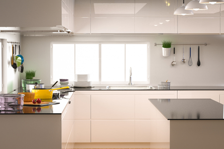 ware house: 3d rendering kitchen interior with empty counter