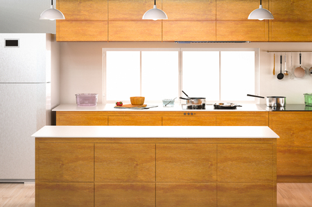 cabinetry: 3d rendering kitchen interior with empty counter