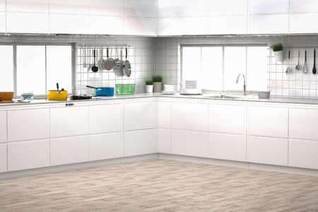 kitchen cabinets: 3d rendering kitchen interior with kitchen cabinets on wooden floor