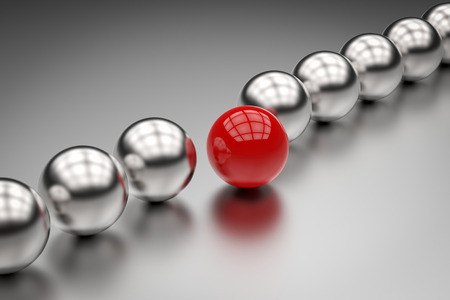 leadership concept with red ball