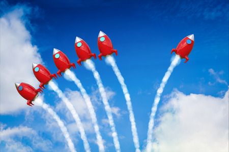 differentiation: leadership concept with red space shuttle launch