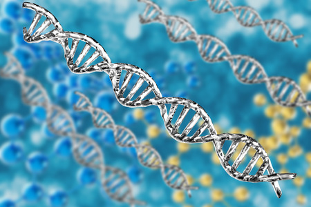 dna structure: 3d rendering silver dna structure on abstract background Stock Photo