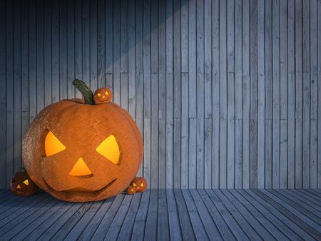 3d rendering halloween pumpkin on wooden background