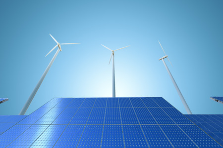 windpower: alternative energy concept with 3d rendering wind turbines and solar panels