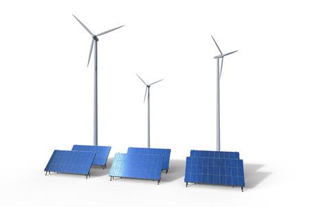 concetto di energia alternativa con rendering 3d turbine eoliche e pannelli solari