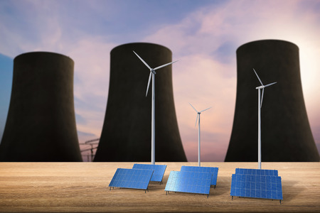 kinetic energy: energy concept with 3d rendering solar cells, wind turbines and nuclear reactors