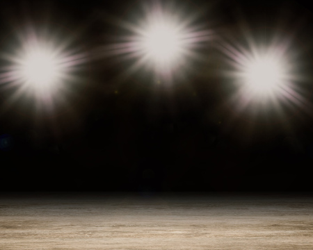 introducing: 3d rendering blank stage with shining flash light Stock Photo