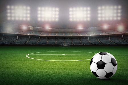 3d rendering soccer ball with soccer stadium background