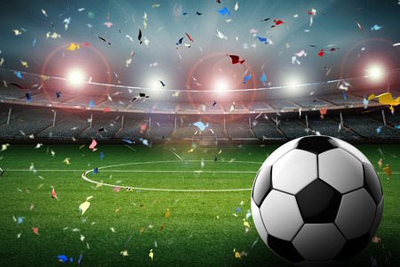 winning pitch: 3d rendering soccer ball with soccer stadium and confetti background