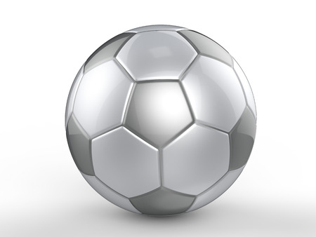 soccerball: 3d rendering silver ball on white background