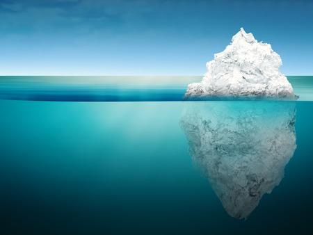 3d rendering iceberg model on blue ocean
