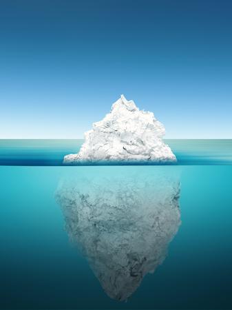 3d rendering iceberg model on blue ocean 스톡 콘텐츠