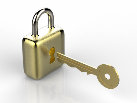 golden key: 3d rendering golden padlock with golden key on white background