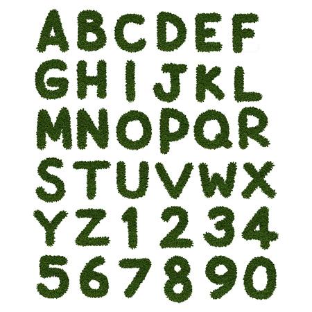 greenery: greenery alphabet a to z on white background Stock Photo