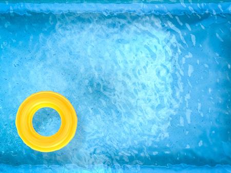 3 차원 렌더링 수영장 상위 뷰에 노란색 수영 반지 스톡 콘텐츠