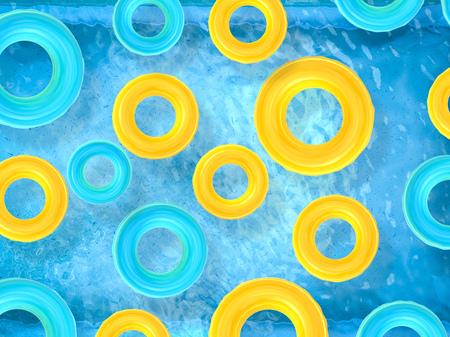 3d rendering swim rings on pool top view Stock fotó - 64042667