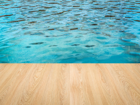 pool side: 3d rendering pool side with wooden floor