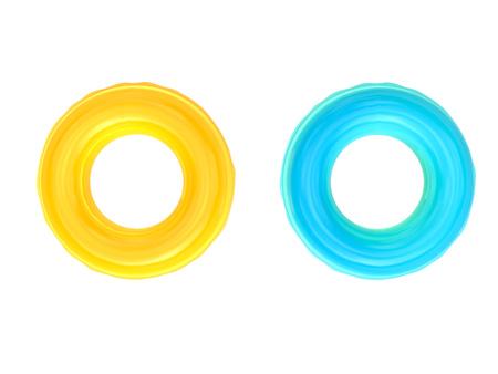 3d 렌더링 노란색과 파란색 수영 반지 화이트 절연