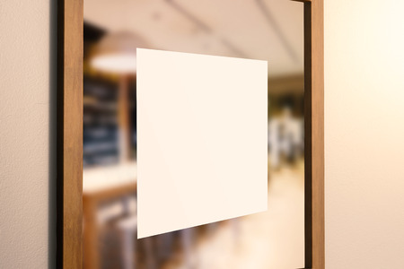 glass door: blank square sign on glass door Stock Photo