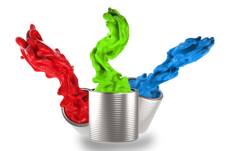 red, green and blue splash on white background
