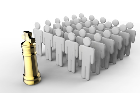 business leadership concept with golden chess king in front of workers