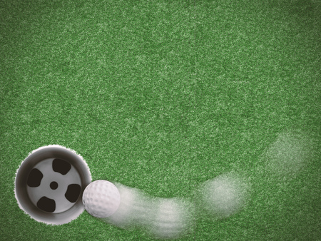 curve line: motion curve line golf ball on green grass