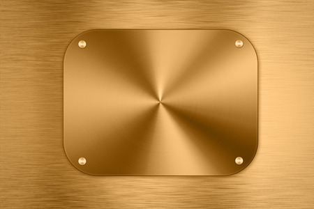 shiny metal background: shiny golden metal plate background Stock Photo
