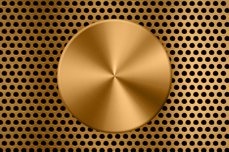 gold metal plate on metal screen background Stock Photo