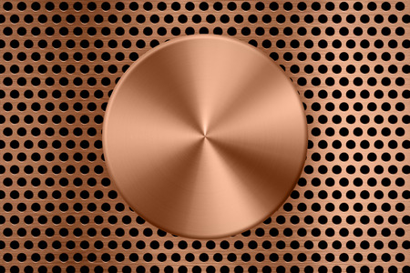 copper metal plate on metal screen background