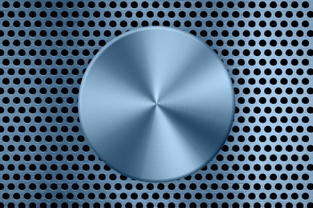 blue metal plate on metal screen background