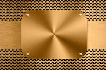 gold metal: gold metal plate on metal screen background Stock Photo