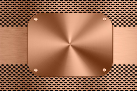 sifter: copper metal plate on metal screen background