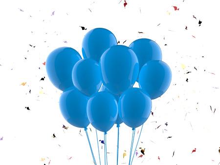 3D-Rendering ein Bündel blaue Luftballons Standard-Bild