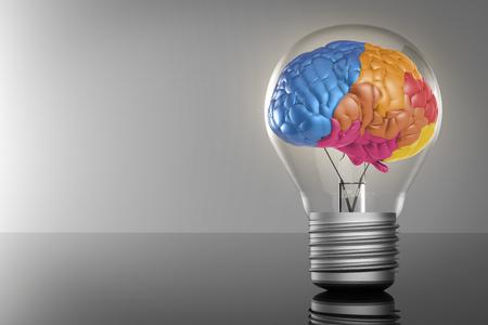 creative idea with 3d rendering colourful brain and idea lightbulb