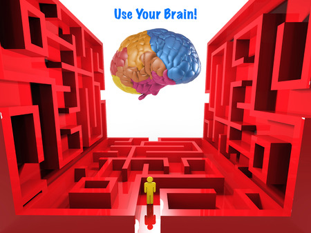 complicated journey: use your brain concept with labyrinth and colourful brain Stock Photo